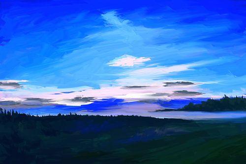 Impressionistisch landschapsschilderij in blauw van