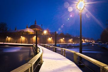 Leerdamse haven in de sneeuw von Matthijs Temminck
