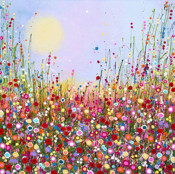 Schilderij bloemenveld van Bianca ter Riet