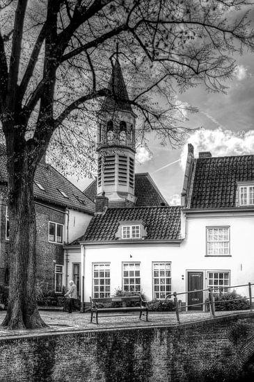 Elleboogkerk en Havik historisch Amersfoort zwartwit