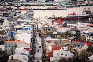 Zicht over Reykjavik van