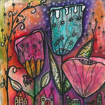 Sie leben unter Blumen - They live under Flowers van Monika Carey