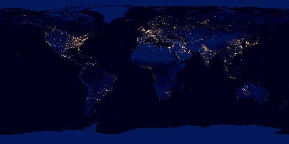 Wereldkaart in zwart, blauw en licht