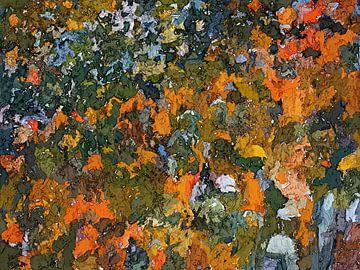 abstract wanddecoratie, het oranje gevoel van Paul Nieuwendijk