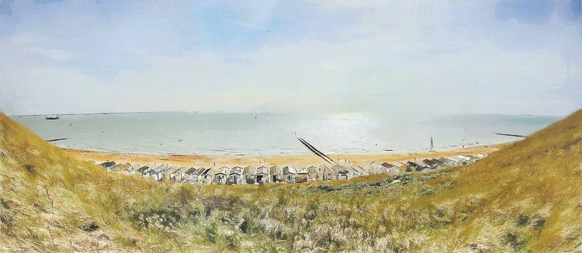 Strandhütten in Dishoek bei Flushing in Zeeland - Gemälde von Schildersatelier van der Ven