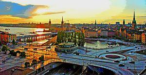 Zonsondergang boven Stockholm van Leopold Brix
