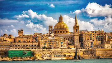 Panorama Blick auf Altstadt von Valletta Malta von Dieter Walther