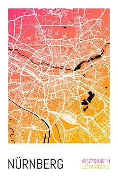 Nürnberg – City Map Design Stadtplan Karte (Farbverlauf) von ViaMapia