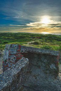 Zonsondergang oude bunkers Terschelling van
