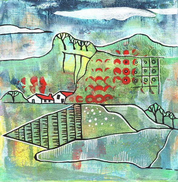 Saisonale Landschaft - Frühling von Ariadna de Raadt-Goldberg