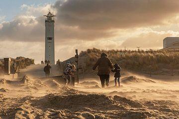 Storm in Noordwijk aan Zee sur Dick van Duijn