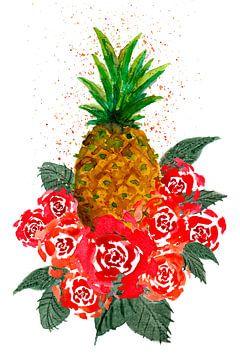 Rote Rosen und Ananas von ZeichenbloQ