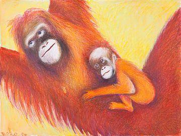 Orang Utan Mutter und Baby von Dorothea Linke
