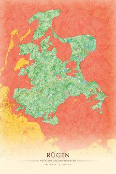 Rügen II - malerische Inselkarte Illustration von Matthias Edition