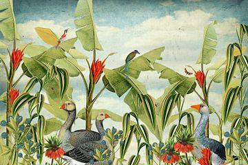 Botanisch met ganzen, tropische vogels en bloemen von Studio POPPY