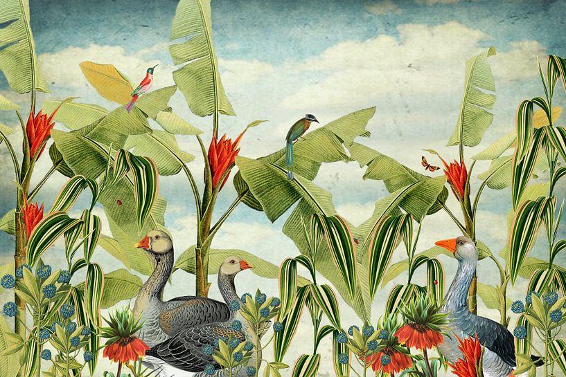 Botanisch met ganzen, tropische vogels en bloemen van Studio POPPY
