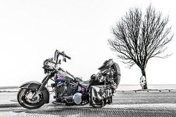 Harley Davidson motor en een boom op een landweg in zwart wit van Harrie Muis