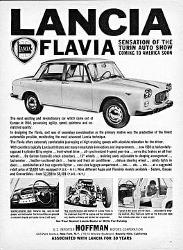 Lancia Flavia Sedan Werbung aus Beverly Hils, California, USA 1961 von Atelier Liesjes