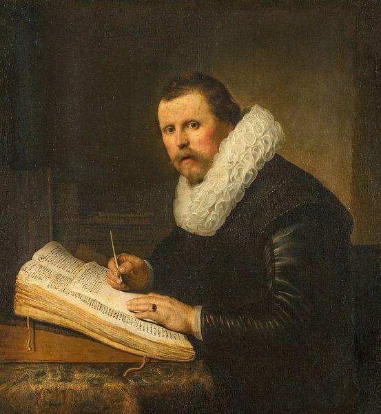 Portret van een man met kraag, Rembrandt van Rembrandt van Rijn