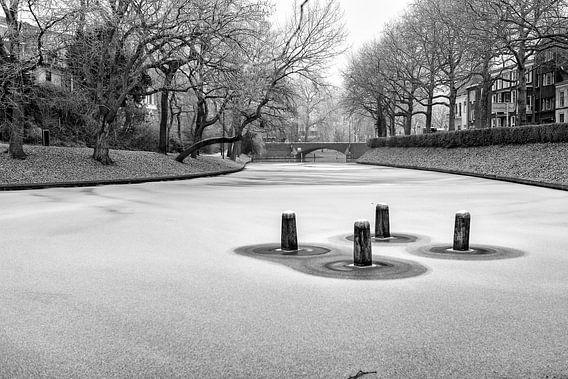 Dukdalf in een bevroren Singel van Utrecht in zwartwit.