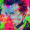 Motiv Porträt David Bowie Summer Splash - Neon Green Pink van Felix von Altersheim thumbnail