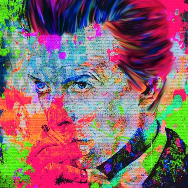 Motiv Porträt David Bowie Summer Splash - Neon Green Pink van Felix von Altersheim