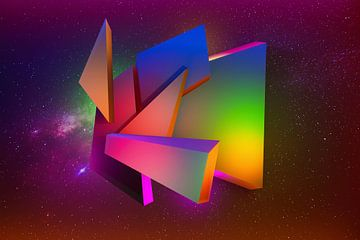 Futuristische kosmische 3D-Komposition mit Blöcken und Dreiecken von Pat Bloom - Moderne 3d en abstracte kubistiche kunst