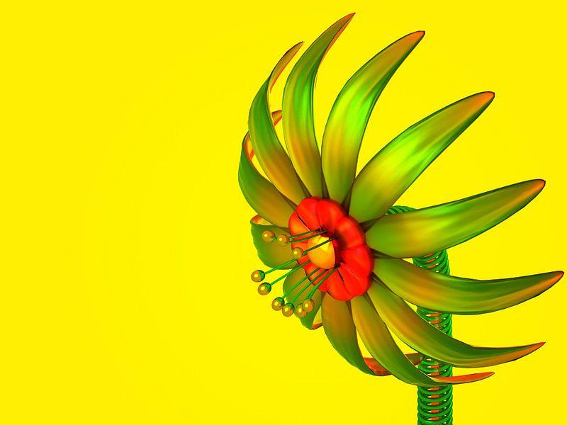 Digitale bloem in glas van Jan Brons