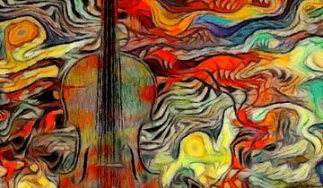 Abstraktes Musikbild mit Geige von Marion Tenbergen