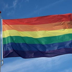 Regenboogvlag wappert met blauwe lucht en wolken van André Muller