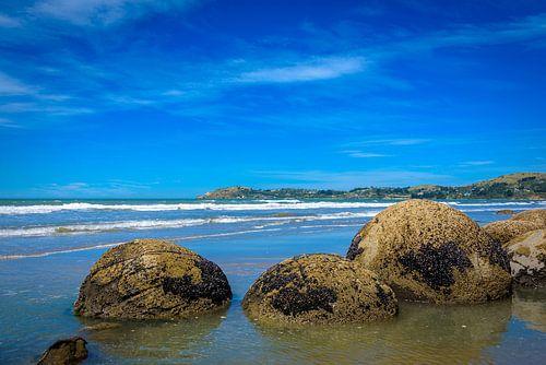 Moeraki Boulders op het strand, Nieuw Zeeland