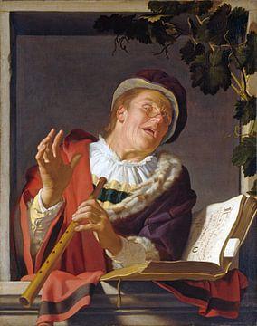 Zingende fluitspeler - Gerard van Honthorst, ca.1623 van Atelier Liesjes