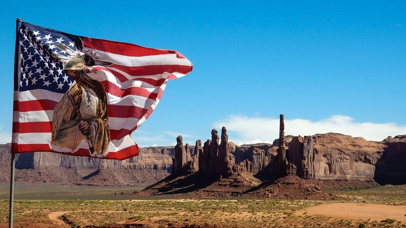 Amerikaanse vlag in Monument Valley van Dimitri Verkuijl