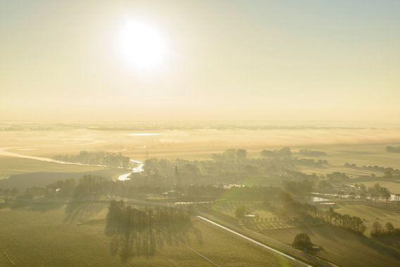Luchtfoto van het stadje Blokzijl in Overijssel tijdens zonsopkomst van Sjoerd van der Wal