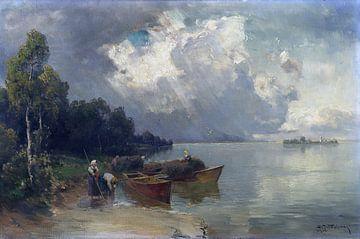 Verschiffung der Heuernte am Chiemsee mit aufziehendem Gewitter, JOSEPH WOPFNER, 1908