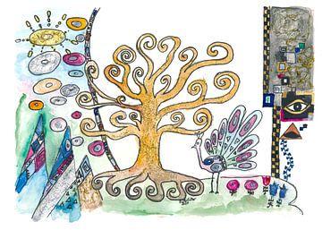 Klimt inspirierter Goldener Lebensbaum im Ewigen Frühling von Markus Bleichner