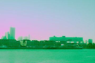 Rotterdam - Erasmusbrug en omgeving - in groen-roze tinten van Ineke Duijzer
