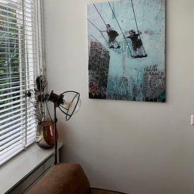 Klantfoto: SATURDAY SWING (gezien bij vtwonen, weer verliefd op je huis ) van db Waterman, op canvas