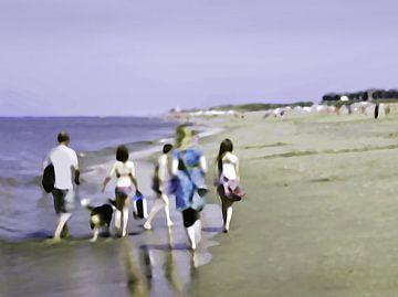 Strand sfeertjes   Familie wandeling    Strandleven van Fons Bitter