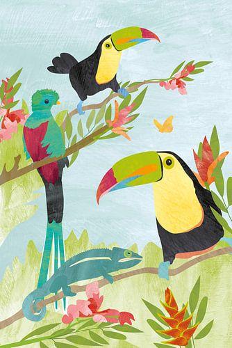 Vogels in jungle van Karin van der Vegt