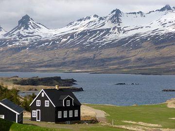 Zwart houten huisje IJsland von Berg Photostore