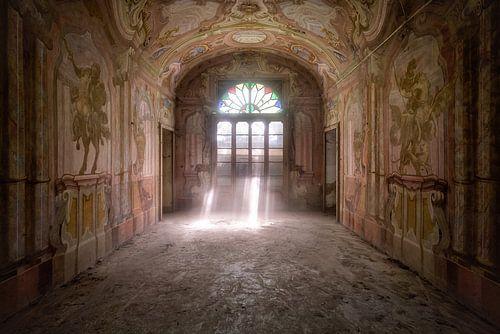 Schönes Fresko in einem verlassenen Haus.