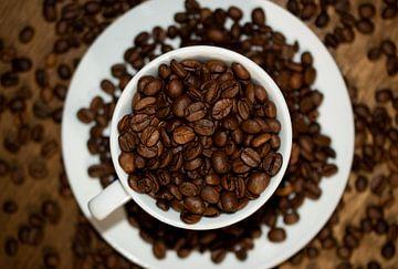 koffiebonen in een koffie kop op een bordje van lars beumer