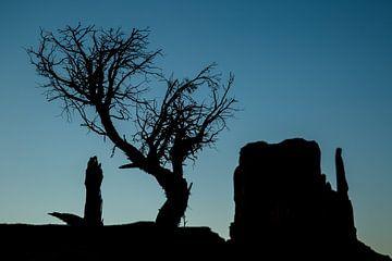 Monument Valley tegen de avondlucht van Peter Leenen