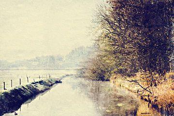 Uitzicht op de Watermolenbeek (Roosendaal, Nederland) (kunstwerk) van Art by Jeronimo
