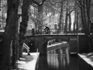 Utrecht, Nieuwe Gracht, fietser, winter van Robert-Jan van Lotringen