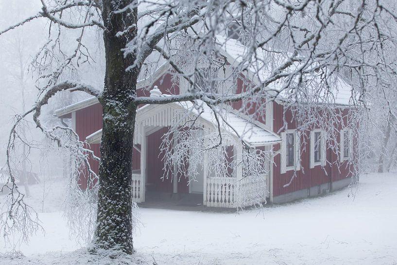 Zweeds huisje in de sneeuw van Arthur van Iterson