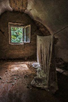 Het hangende doek in een verlaten huis van Digitale Schilderijen