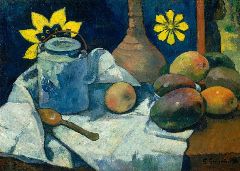 Paul Gauguin. Still Life with Teapot and Fruit von 1000 Schilderijen