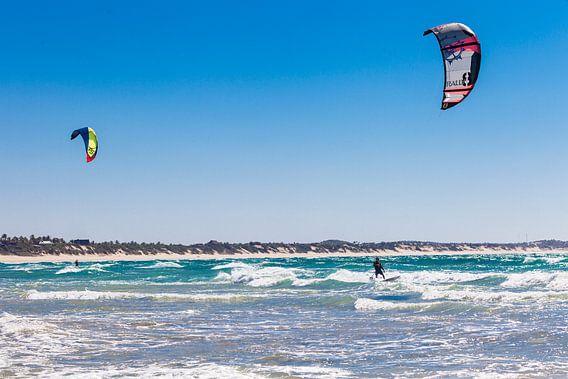 Kitesurfers in Tofo, Mozambique
